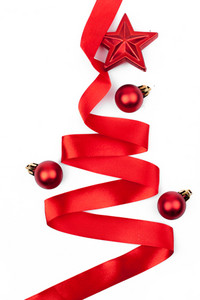Ribbon christmas tree isolated