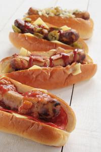 Hotdog Selection On White Boards