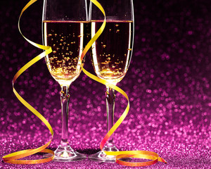 Two glasses of champagne ready for christmas celebration