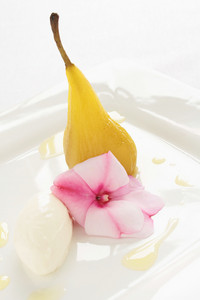 Plated Poached Pear Dessert