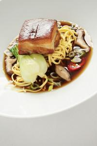 Plated Pork Noodle Meal