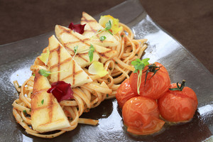 Grilled Houlumi With Spaghetti Plated Meal