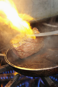 Steaks Cooking On Stove
