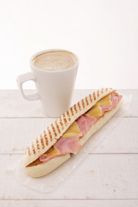 Cheese And Ham Panini With Coffee