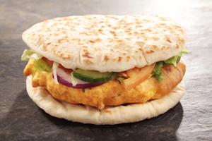Flat Bread Chicken Pakora Burger