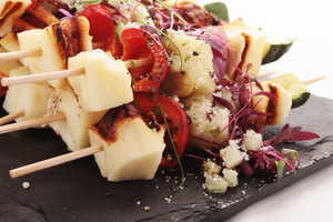 Grilled Halloumi Vegetable Kebabs