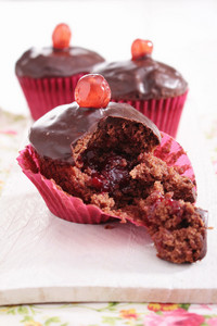 Chocolate Cherry Filled Cup Cakes