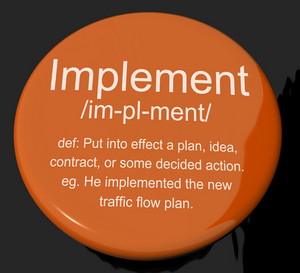 Implement Definition Button Showing Executing Or Carrying Out A Plan