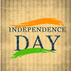 Independence Day Text On Brown Background With Waves In National Flag Color