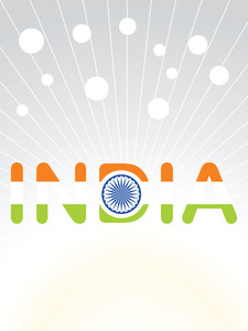 India In Three Flag Color Vector