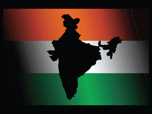 Indian Flag And Map Isolated On Black