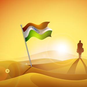 Indian Flag At Desert On Evening Background With Silhouette Of Soldier .