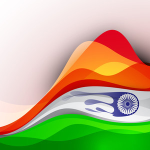 Indian Flag Background With Wave Pattern.