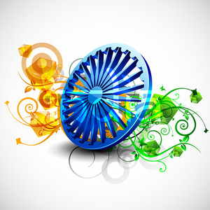 Indian Flag Color Creative Floral Background With 3d Asoka Wheel.