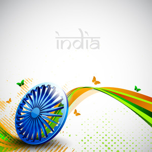 Indian Flag Color Creative Wave Background With 3d Asoka Wheel And Butterflies 10