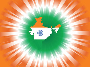 Indian Flag In Map Shape Isolated On Digital Background