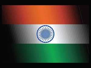 Indian Flag Isolated On Black