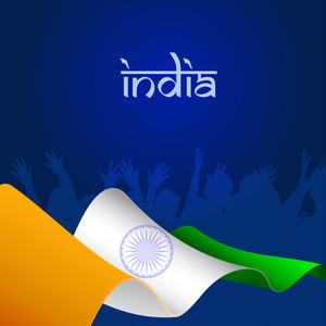 Indian Flag  Wave Background And Happy People Silhouette.