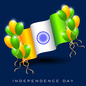 Indian Flag Wave Background With Balloons.