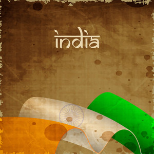 Indian Flag Wave Background With Grungy Effect And Text India.