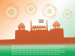Indian Flag Waving On The Red Fort In Delhi