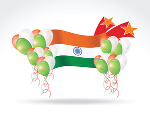 Indian Flag With Stars And Balloon
