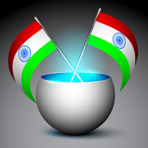 Indian Flags In Shiny Metallic Elements On Grey Background.