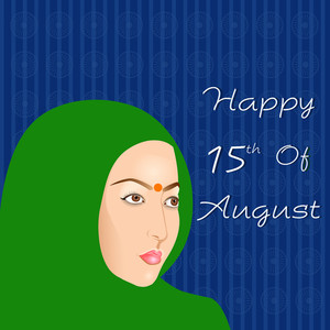 Indian Independence Day Background With Indian Women.
