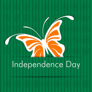 Indian Independence Day Sticker With Butterfly.