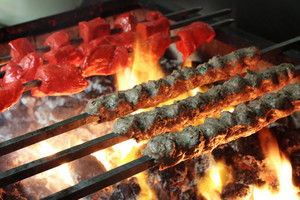 Indian Kebabs Cooking Over Coal Barbecue