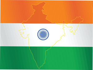 Indian Map Isolated On Flag