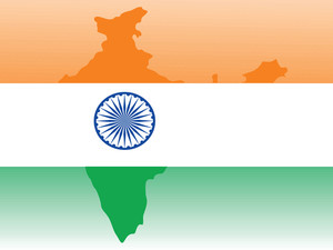 Indian Map Silhouette On Flag