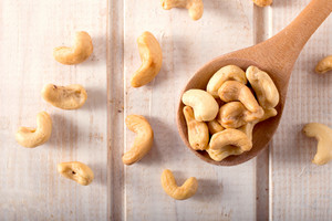 Wooden Spoon And Cashew Nuts