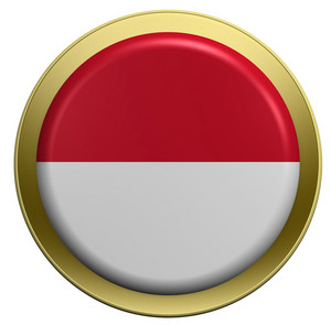 Indonesia Flag On The Round Button Isolated On White.