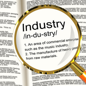 Industry Definition Magnifier Showing Engineering Construction Or Factories