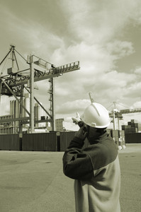 industry worker directing container crane
