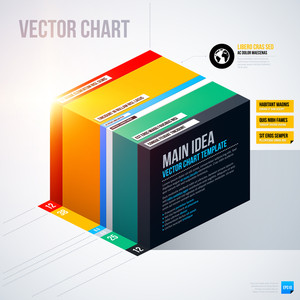 Infographics Chart Template With Isometric Cube. Eps10