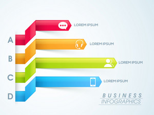 Creative colorful infographic papers with web symbols for your Business.
