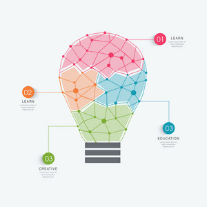 Idea concept with illustration of a light bulb with different colors to differentiate data for professional reports presentation.