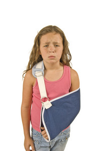 Injured Little Girl With Arm Sling
