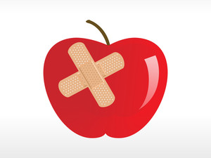 Injured Red Apple With Plaster