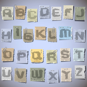 Ink Alphabet On Pieces Of Old Paper