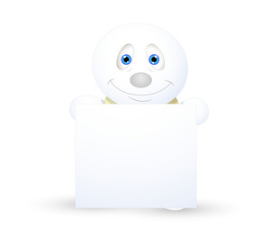 Innocent Snowman Presenting Blank Banner