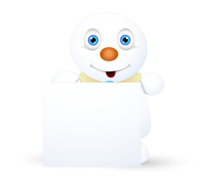 Innocent Snowman With Blank Message Banner