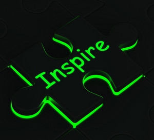 Inspire Puzzle Shows Motivation And Inspiration