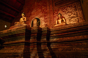 Interior Design Hall of Viharn Lai Kam Wat Phra Singh is located in the western part of the old city centre of Chiang Mai.