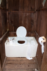 Interior of a dirty and disgusting outhouse with toilet paper littered around.