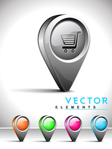 Internet Web 2.0 Icon With Shopping Cart Symbol.