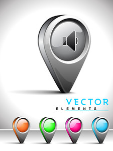 Internet Web 2.0 Icon With Sound Symbol.