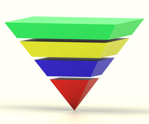 Inverted Pyramid With Segments Shows Hierarchy Or Progress